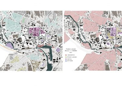 Two colored digital maps in white background.