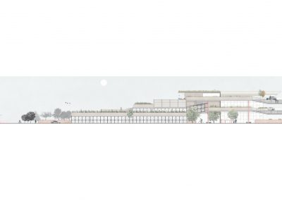 Coloured computer drawing of building's north elevation in white background