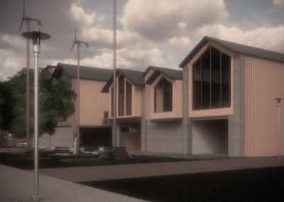 Digital render in colour showing buildings and street view.