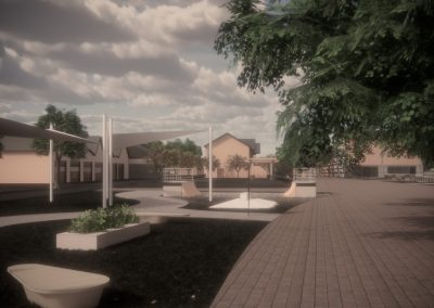 Digital render in colour showing outdoors area.