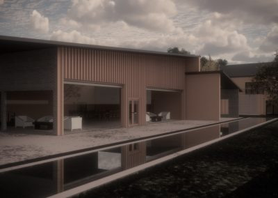 Digital render in colour showing buildings and landscape.