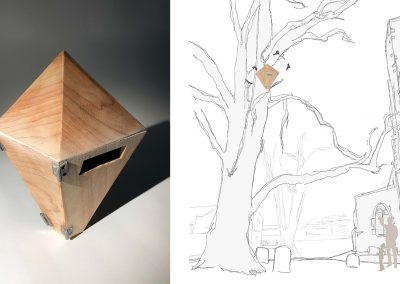 Image of wood object, and line drawing.