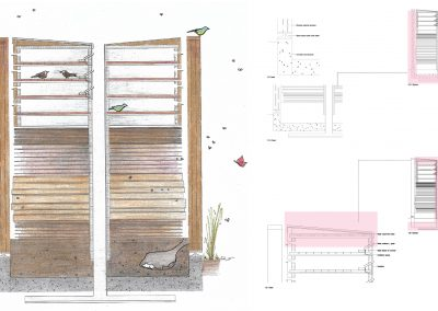 Image of colourful pencil drawing and technical drawings on white background.