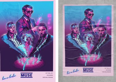 An illustrated music concert poster in the style of 1980s science fiction movies, using a pink, purple and blue colour palette. Left image shows the illustration, the right image shows it mocked-up up onto a poster pasted onto a wall.