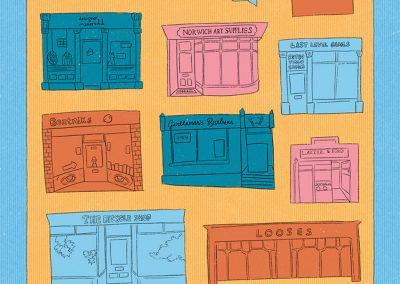 Line illustrations coloured in bright block colours showing shop fronts of independent and businesses throughout East Anglia, situated inside a blue boarder with text at the bottom.