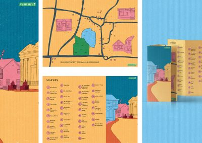 Three separate illustrations picturing the town of Diss in map form. The fourth image is a mock-up of the map standing on a flat edge.
