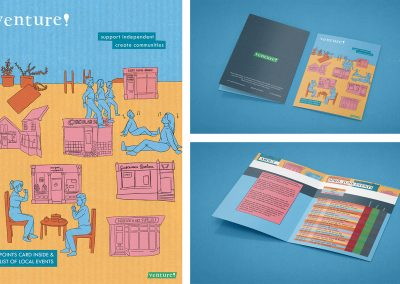 Three images. First showing an illustrated leaflet cover showing local small businesses, and people enjoying the services that they have to offer. Other two images show the leaflet mocked-up on a blue background. The inside of the leaflet shows columns of what events are available to attend, colour coded to county.