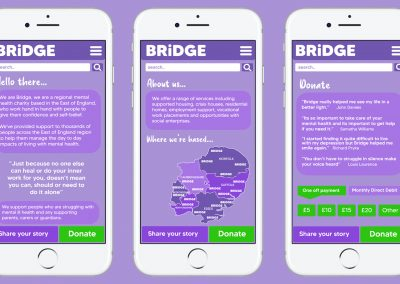 A mock-up of a charity webpage for Bridge displayed on mobile screens for display purposes