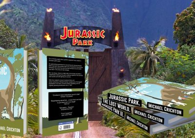 New book designs for Michael Crichton's Jurassic Park books, placed on a scene from Jurassic Park