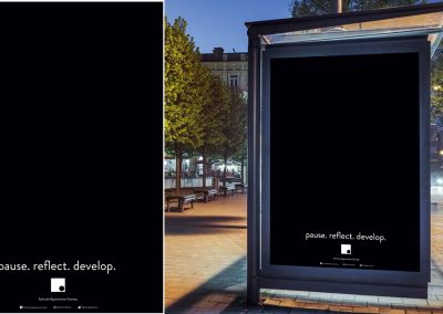 A poster design that appreciates solitude, with mock-up on bus stop for display purposes