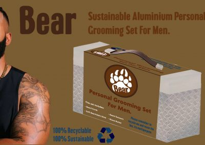 Mock-up of a product advert promoting s sustainable aluminium personal grooming set for men