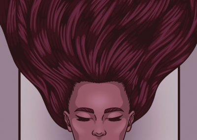 """""""This piece portrays an illustrated gig poster on a portrait canvas with a woman with her eyes closed and hair flowing in an upward motion. The information for the gig reads A Thousand Horses, November 11th 2021, 501 Broadway, Nashville TN. The colours of the poster consist of pale purple for the boarder and background and shades of burgundy for the woman."""""""