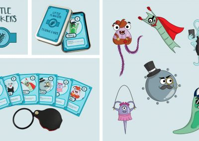 """This image shows branding for a children's appreciation society for Plankton. The logo is of a cartoon plankton within a circle. The branding portrays a pack of collectable trading cards that come in a metal tin with the logo on the front. The cards have six different cartoon plankton on them with a fact about them underneath the illustration. There is also a small magnifying glass for reading the fact on the cards. The right of the image shows the six character illustrations."""""""