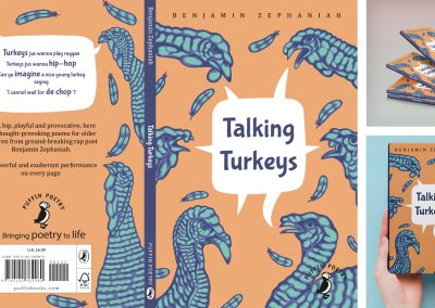 This image shows a Penguin children's book cover for the children's poetry book, Talking Turkeys by Benjamin Zephaniah. The book is a pale orange and features multiple turkeys around the edges that are coloured blue. The image also features two mock-ups of how the book cover would look physically.