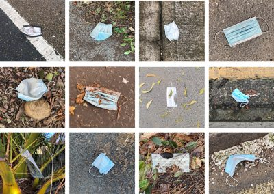 A grid of 12 images featuring single use disposable masks