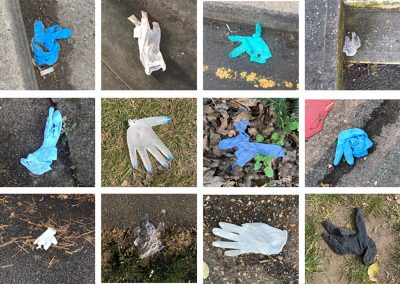 A grid of 12 images featuring plastic gloves