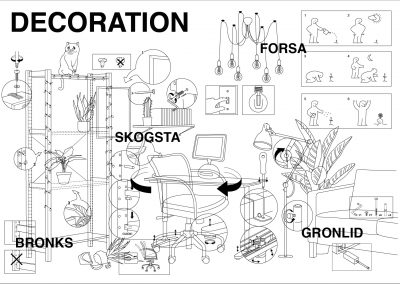 A chaotic line drawing of objects and house furniture for a sequence a double page spread zine.
