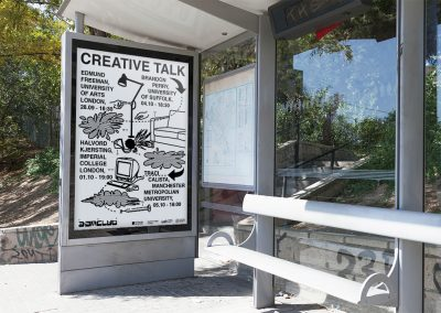 A mock-up of an advertisement for a Creative Talk for the 3AM Club displayed on a billboard