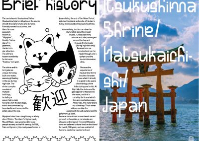 A double page spread designed for a magazine displaying both information and the usage of the custom font