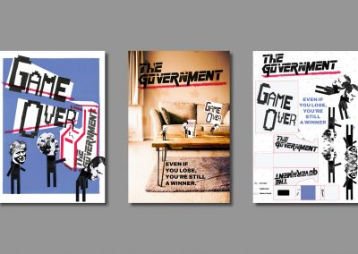 Three posters about how members of parliament treat the government like a game. The final poster has a net of the members of parliament and the arcade machine from the middle poster.