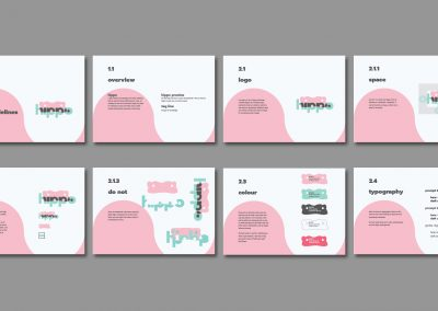 Eight images are showing pages from brand guidelines for hippo, an online learning service.