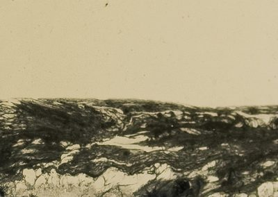 A sepia landscape of cracked texture with a dark texture at the bottom.