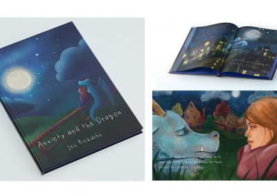 A selection of mock-ups and a spread from Anxiety and the Dragon. Mock-ups include front of book and an open spread, front cover image is the statement piece, and the open spread mock-up is of the dragon flying across the town with the girl on their back.