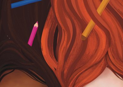 Illustrated front cover of magazine, showing close up digital and pencil drawing of two young girls, laying with pencils in their hair. 'The Other Shoes' bold type in centre top, with header directly below stating 'Diversifying perspectives through creativity'