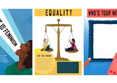 3 images from The Other shoes magazine. Left hand image shows illustrated young girl shouting, with what is feminism in bold type. Middle image shows digital drawing of a scale with a boy and girl sat on each side. Black text at bottom sat on yellow background ,describes equality, and facts about the suffragettes. Right hand image shows example creative prompt page, blue background with white canvas framed in the centre. Illustrate pencils and text block explaining creative task. who's your hero header.