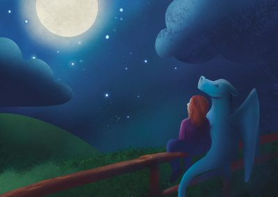Front cover for a children's picture book, a watercolour and digital illustration of a dragon and ginger girl looking up at the moon. Dark blues, greens and white as prominent colouring. White hand written typography saying 'Anxiety and the Dragon.