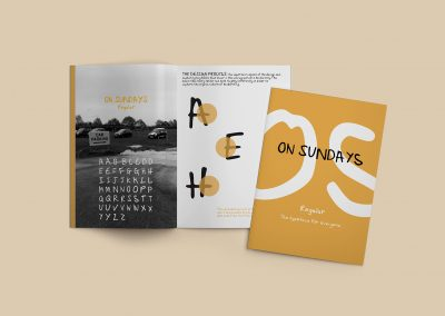 A double page spread from the On Sundays font book. This contains the alphabet of a typeface called On Sundays overlayed on a black and white photograph of a car boot location placed alongside a descriptive page about the typeface.