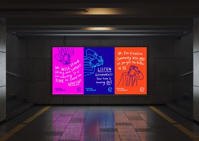 A collection of illustrated posters coloured in bright block colours mocked up in the ideal placement of the London Underground.