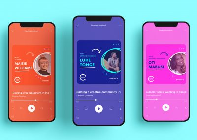 Three mobile screens showcasing a podcast design for the Creatives combined group.