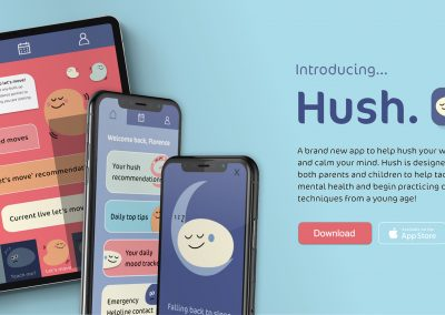 A mock-up advertisement of an App called 'Hush'. Within the image two mobile and one tablet screen are displayed alongside illustrated characters and muted colours to support the cause.