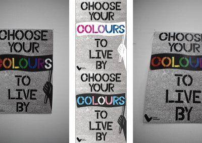A mixture of photographs and mockups depicting a series of posters for and LGBTQ+ teenager campaign.