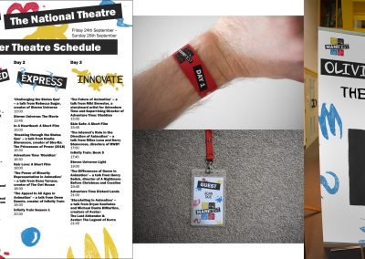A schedule for a film festival, alongside photographs displaying a wristband, lanyard badge and standing banner.