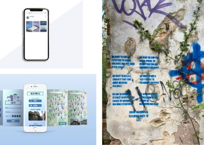 """An App store preview of the application with three portrait oriented rectangles with rounded edges preview in blue, purple and specific dark green colour overlayed with app screens, logo and text encouraging user to download the app. A mock-up of an Application for Ruins Rescue company displayed on a screen of a mobile phone, surrounded by 2 screens of application on each side. App screens with soft gradient as a background. Simple vector houses as a graphics within app. Main page """"Your profile"""" is consisted of various app option buttons like """"upload"""", """"share"""", """"map"""", etc, on the main page there is also Rescue of the month side slide photograph preview. Interactive screens with map with houses in certain locations which allow preview of the certain abandoned building photographs. Manifesto sprayed on the legal wall in Prague. Sprayed with blue spray through cut out stencils."""