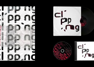 Gig poster, CD and album design set against a black background. The gig poster features the album's name, 'clipping', repeated in the background with tour dates overlaid. The album cover and CD feature the same distorted text - 'clipping' with the i's omitted - in black and red text on set against a white background. The CD and album itself feature an abstract texture of paper in red, with stark black shadows.