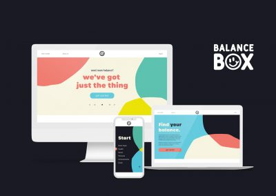 Three screens of different sizes showing various web pages for the Balance Box site. On a computer screen is a homepage with the text 'need more balance? we've got just the thing.' On a laptop is the 'about us' section which features the heading 'find your balance' and text about the site. On a phone screen is a survey page displaying different categories to do with work/life balance. All screens feature various configurations of overlapping circles in the background.