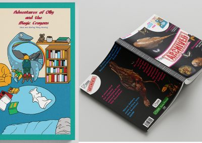 Mock ups of the front and back cover for the new historical magazine archived and the comic that comes included