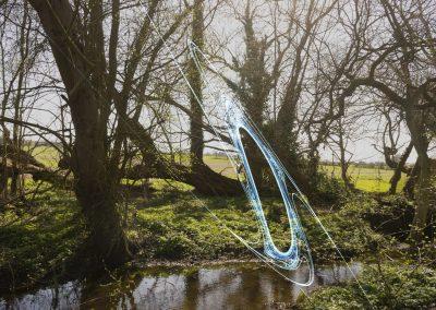 Woodland pond landscape with light blue coloured spark overlay