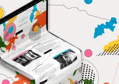 A website mock-up showing an abstract paper based webpage coming out of an open laptop with cartography based abstract illustrations and shapes in the background.