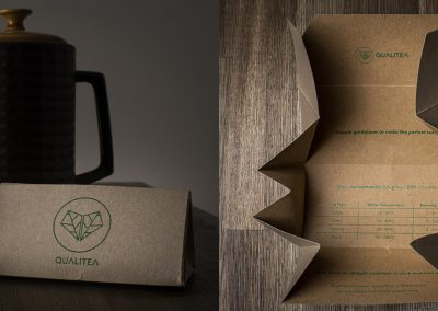 The image on the left is a photograph of a tea pot, cup and saucer, and a packet of tea. The image on the right is the packet of tea open displaying the contents and usage instructions.