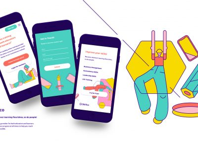 Three mobile screen mock-ups of a website and supporting character illustrations in pink, teal, orange and yellow with repeating abstract shapes based on pencils.