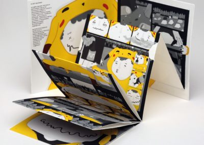 An image of a mock-up of a book with a concertina fold of pages, a side shot of the unfolded book, a folded book with a Leporello inside + printed in black and white with a yellow detail